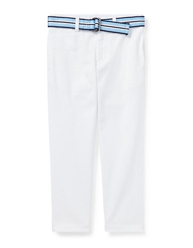 Ralph Lauren Childrenswear Belted Stretch Skinny Chino Pants-WHITE-2T