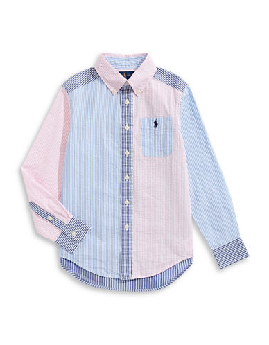 Ralph Lauren Childrenswear Cotton Seersucker Collared Shirt-BLUE-Medium