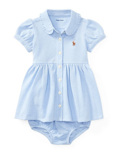 Ralph Lauren Childrenswear Knit Cotton Oxford Dress and Bloomers Set-BLUE-12 Months