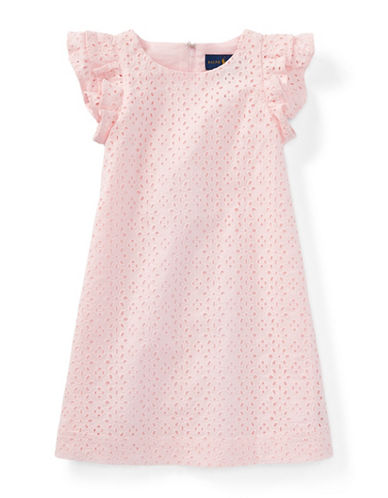 Ralph Lauren Childrenswear Eyelet Cotton Dress-PINK-6X