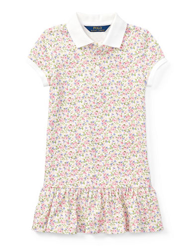 Ralph Lauren Childrenswear Floral Stretch Mesh Polo Dress-WHITE/PINK-6X