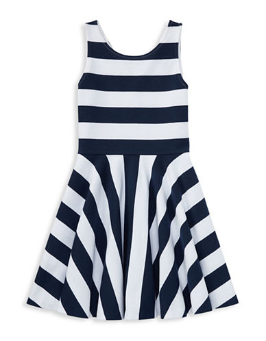 Ralph Lauren Childrenswear Striped Ponte Sleeveless Dress-BLUE-Large
