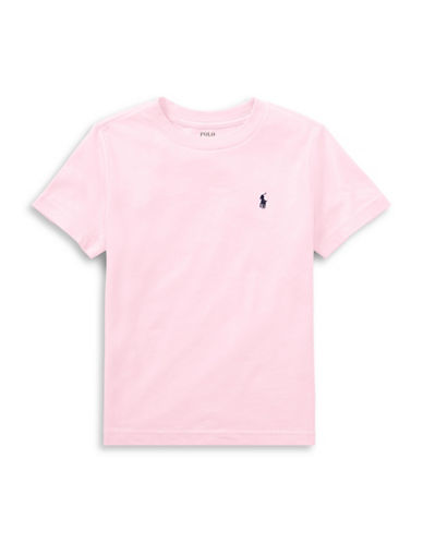 Ralph Lauren Childrenswear Cotton Jersey Crewneck T-Shirt-PINK-5