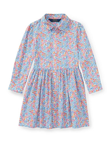 Ralph Lauren Childrenswear Floral Cotton Shirtdress-BLUE-6X