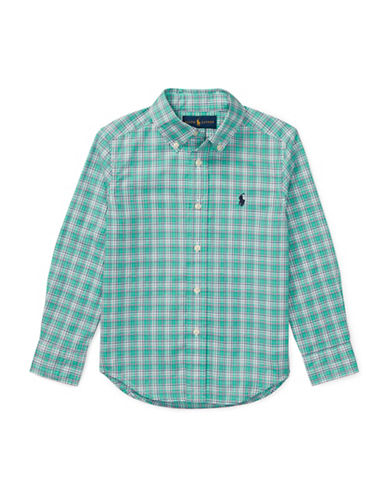Ralph Lauren Childrenswear Plaid Stretch Cotton Sport Shirt-GREEN-2T