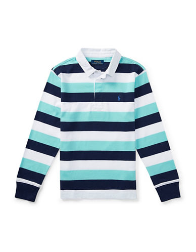 Ralph Lauren Childrenswear Striped Cotton Jersey Rugby Shirt-BLUE-Small