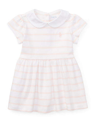 Ralph Lauren Childrenswear Striped Cotton Dress and Bloomers Set-PINK-6 Months