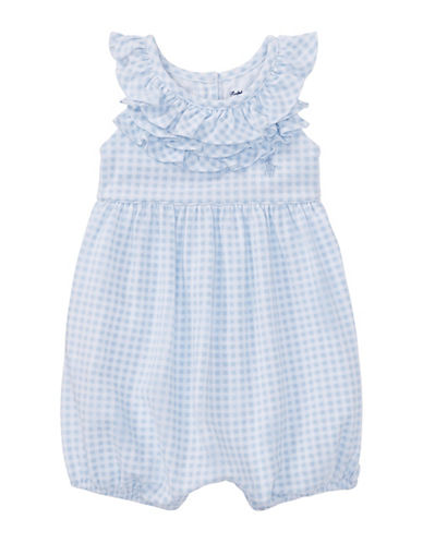Ralph Lauren Childrenswear Ruffled Gingham Cotton Romper-BLUE-3 Months