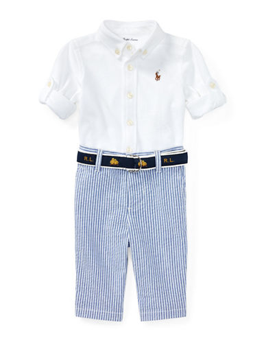 Ralph Lauren Childrenswear Oxford Cotton Collared Shirt, Seersucker Pants and Logo Belt Set-WHITE-18 Months