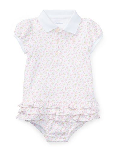 Ralph Lauren Childrenswear Floral Cotton Polo Dress and Bloomers Set-PINK-6 Months