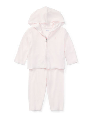 Ralph Lauren Childrenswear Full-Zip Cotton Terry Hoodie and Stretch Pants Set-PINK-24 Months