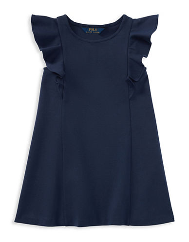 Ralph Lauren Childrenswear Ponte Flutter-Sleeve Dress-BLUE-6X
