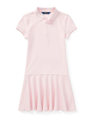 Ralph Lauren Childrenswear Stretch Polo Collar Dress-PINK-XLarge