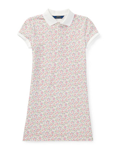 Ralph Lauren Childrenswear Floral Stretch Mesh Polo Dress-WHITE-Large