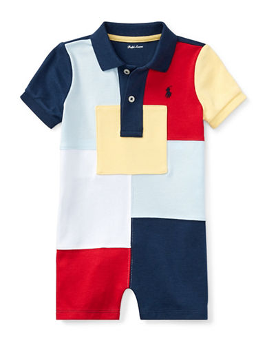 Ralph Lauren Childrenswear Patchwork Cotton Shortall-NAVY-24 Months
