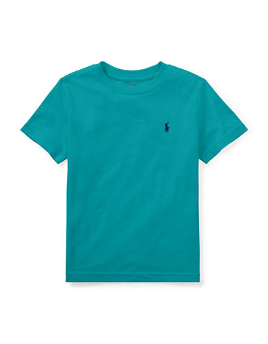 Ralph Lauren Childrenswear Crew Neck Cotton Tee-TURQUOISE-2