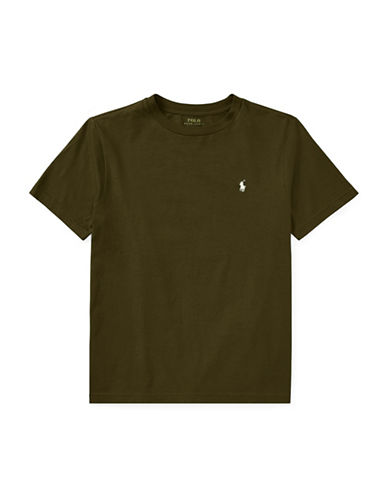 Ralph Lauren Childrenswear Crew Neck Cotton Jersey T-Shirt-GREEN-Medium
