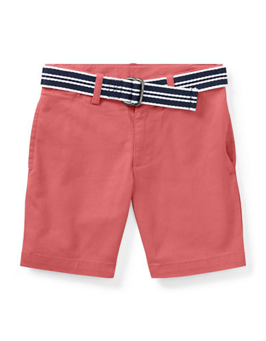 Ralph Lauren Childrenswear Slim Fit Belted Stretch Shorts-RED-3T