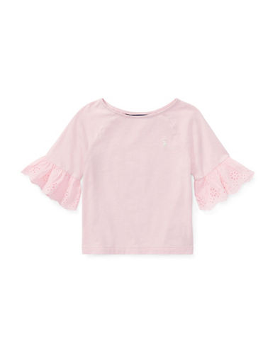 Ralph Lauren Childrenswear Eyelet-Cuff Jersey Top-PINK-6