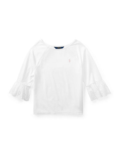 Ralph Lauren Childrenswear Eyelet-Cuff Jersey Top-WHITE-Large