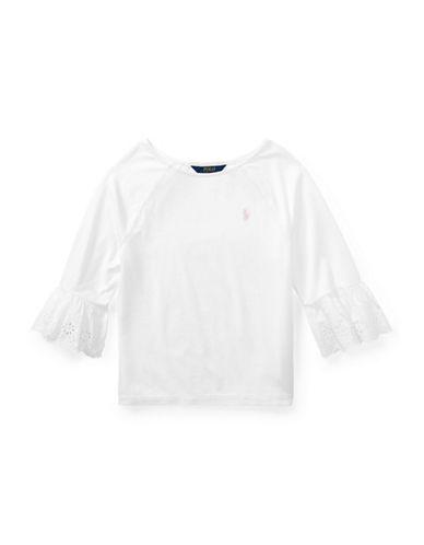 Ralph Lauren Childrenswear Eyelet-Cuff Jersey Top-WHITE-Medium 89889057_WHITE_Medium