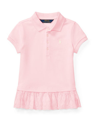 Ralph Lauren Childrenswear Eyelet-Hem Mesh Polo-PINK-3T