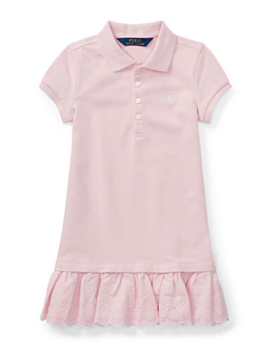 Ralph Lauren Childrenswear Eyelet-Hem Stretch Polo Dress-PINK-3T