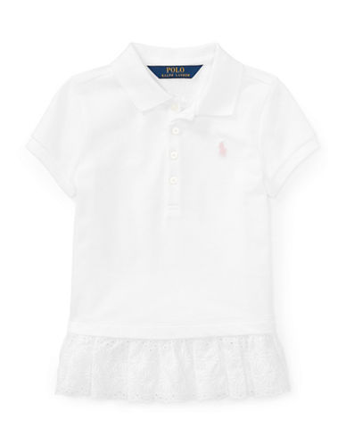 Ralph Lauren Childrenswear Eyelet-Hem Mesh Polo-WHITE-6X