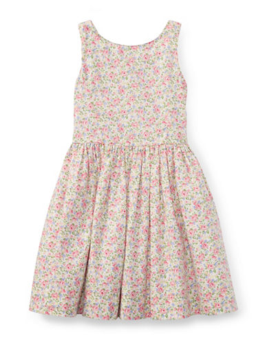 Ralph Lauren Childrenswear Floral Sleeveless Cotton Dress-PINK-2T