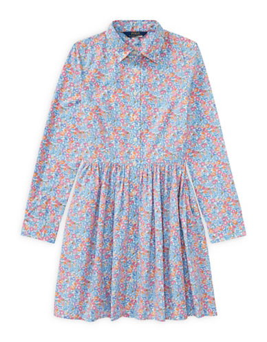 Ralph Lauren Childrenswear Floral Cotton Shirtdress-BLUE-7