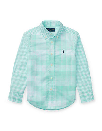 Ralph Lauren Childrenswear Gingham Stretch Cotton Sport Shirt-GREEN-2T