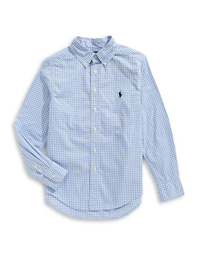 Ralph Lauren Childrenswear Gingham Cotton Collared Shirt-BLUE-Medium
