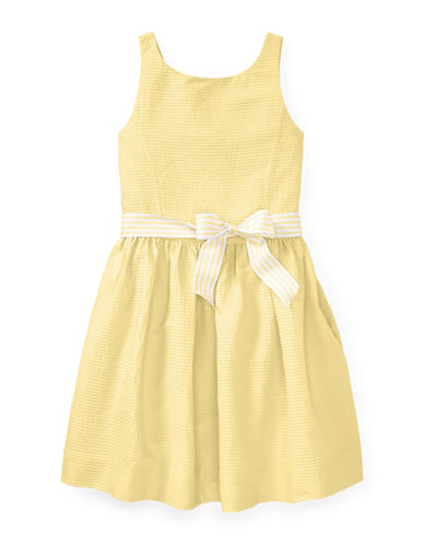 Ralph Lauren Childrenswear Pintucked Cotton Dress-YELLOW-12