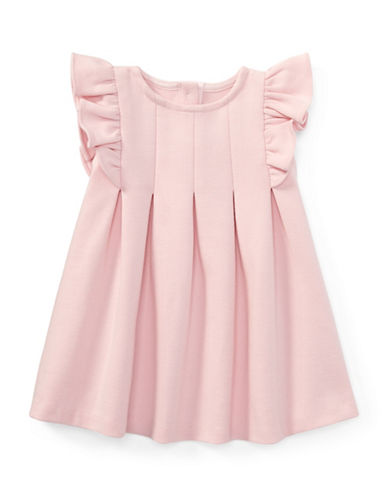Ralph Lauren Childrenswear Ruffled Ponte Dress and Cotton Bloomers Set-PINK-12 Months