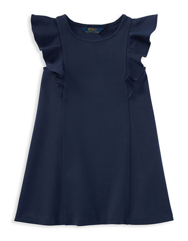 Ralph Lauren Childrenswear Ponte Flutter-Sleeve Dress-NAVY-3T