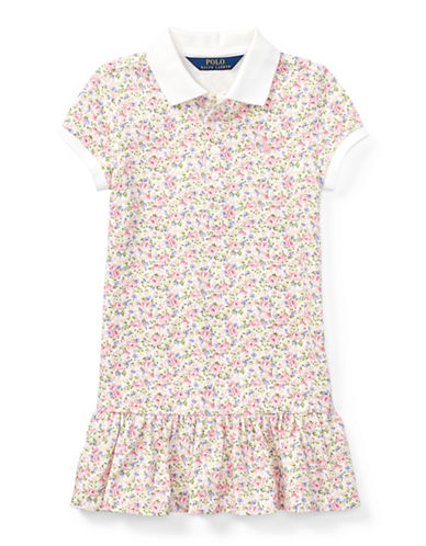 Ralph Lauren Childrenswear Floral Stretch Mesh Polo Dress-WHITE-4T