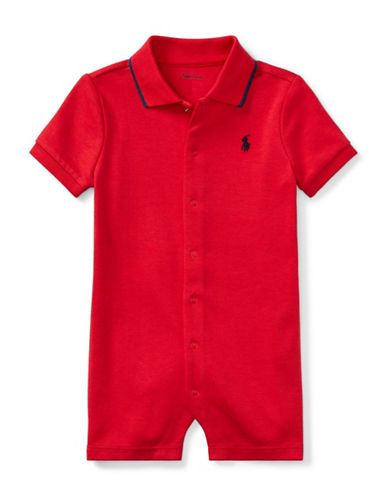 Ralph Lauren Childrenswear Cotton Interlock Polo Shortall-RED-9 Months