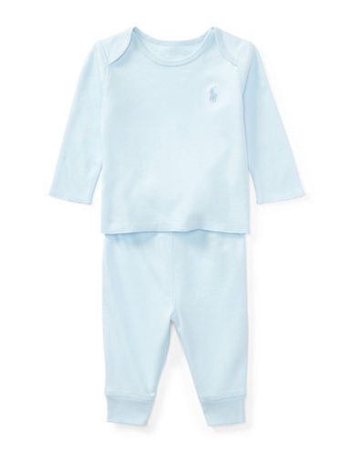 Ralph Lauren Childrenswear Cotton Top and Leggings Set-BLUE-9 Months
