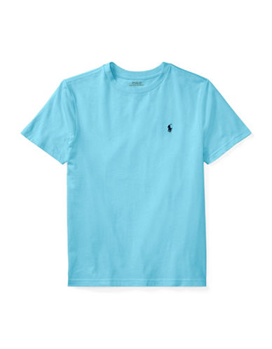 Ralph Lauren Childrenswear Crew Neck Cotton Jersey T-Shirt-LIGHT BLUE-Large