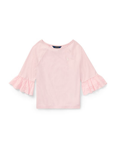 Ralph Lauren Childrenswear Eyelet-Cuff Jersey Top-PINK-Medium