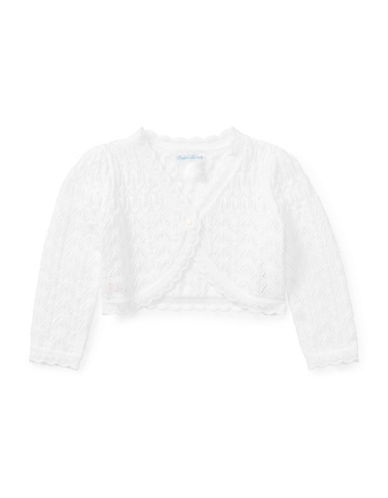 Ralph Lauren Childrenswear Pointelle Cotton Cardigan-WHITE-12 Months