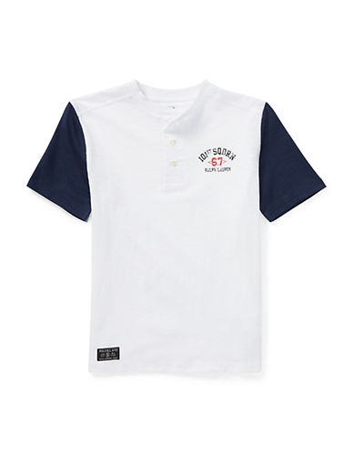 Ralph Lauren Childrenswear Short-Sleeve Cotton Henley-WHITE-Medium 90030378_WHITE_Medium