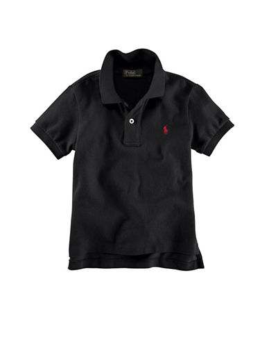 Ralph Lauren Childrenswear Solid Mesh Polo With Pony Player-BLACK-3