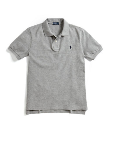 Ralph Lauren Childrenswear Solid Mesh Polo With Pony Player-HEATHER GREY-10-12