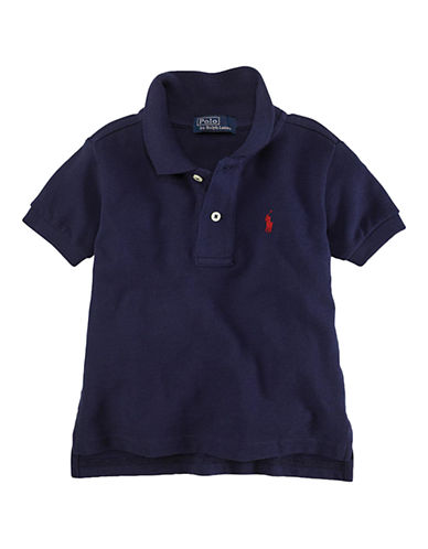 Ralph Lauren Childrenswear Solid Mesh Polo With Pony Player-NAVY-12-14