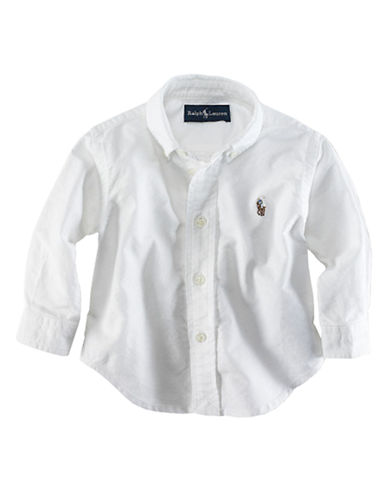Ralph Lauren Childrenswear Button Down Sport Shirt-WHITE-9 Months