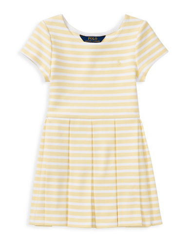 Ralph Lauren Childrenswear Stripe Ponte Pleated Dress-YELLOW-4T