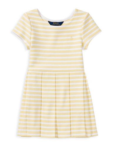 Ralph Lauren Childrenswear Stripe Ponte Pleated Dress-YELLOW-2T