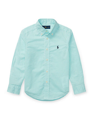 Ralph Lauren Childrenswear Gingham Stretch Cotton Sport Shirt-BLUE-2T