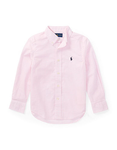 Ralph Lauren Childrenswear Gingham Stretch Cotton Sport Shirt-PINK-7